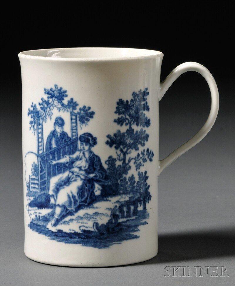 13: Worcester Porcelain Blue Transfer-printed Mug, Engl