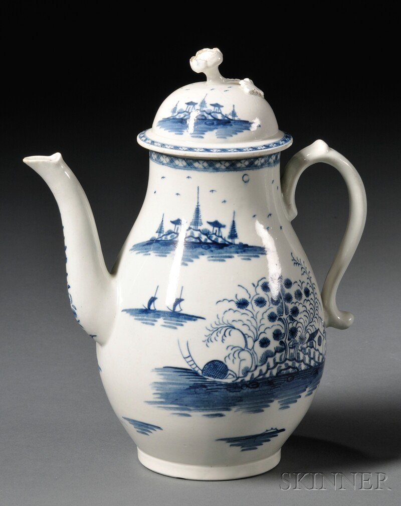 14: Worcester Porcelain Rock Strata Pattern Coffeepot a