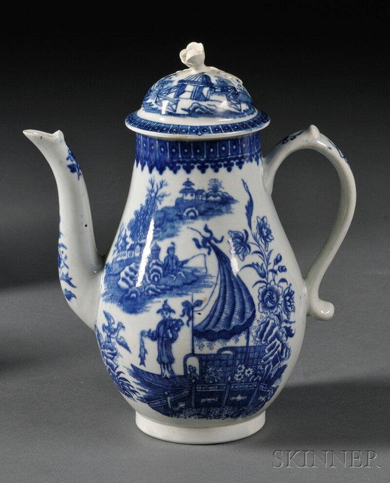 18: Worcester Porcelain Fisherman Pattern Coffeepot and