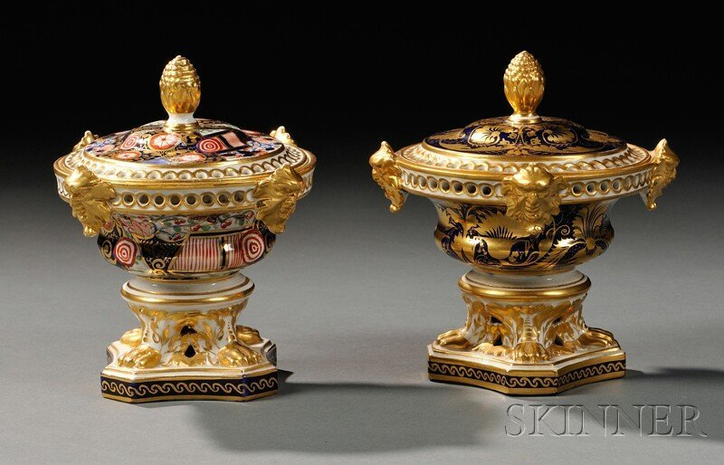 21: Two Derby Porcelain Potpourri and Covers, England,