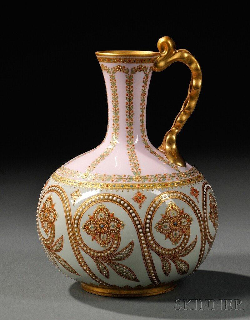 22: Copeland Jeweled Porcelain Ewer, England, late 19th
