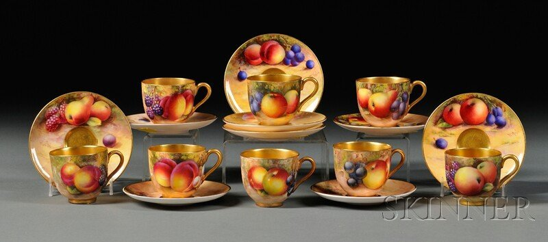 23: Royal Worcester Demitasse Cups and Saucers, England