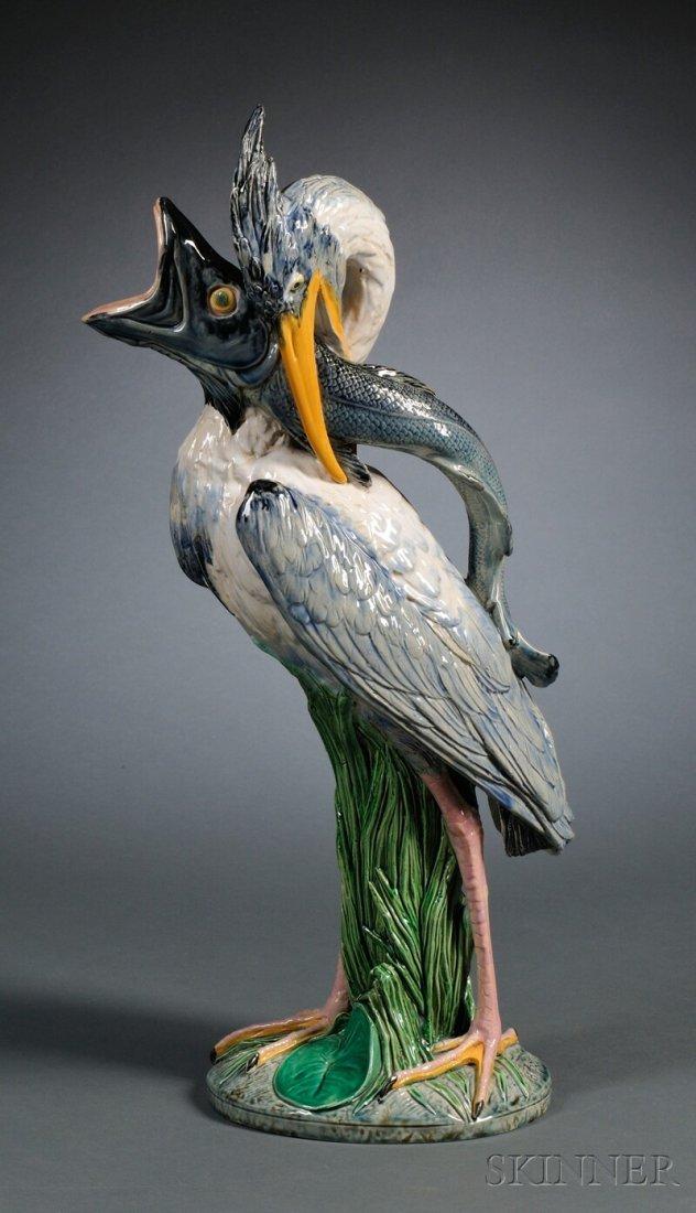306: Minton Majolica Heron and Fish Ewer, England, date