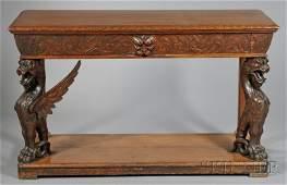 679: Renaissance Revival Carved Oak Console Table, 19th