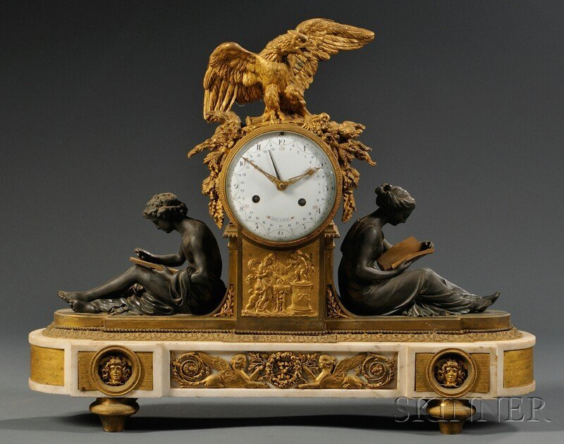 726: Patinated Bronze, Gilt-bronze, and Marble Mantel C
