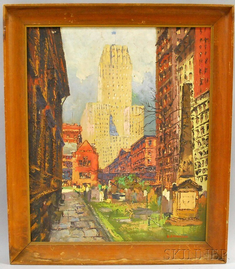 "15: American School, 20th Century City View. Signed ""B."