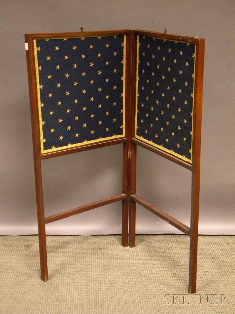 605: Mahogany and Cloth Two-panel Folding Floor Screen,