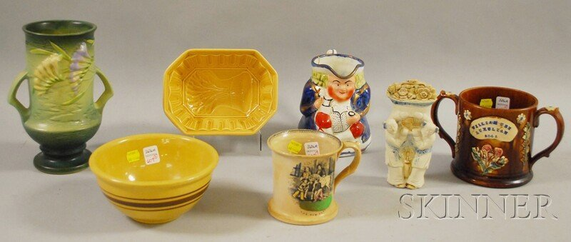609: Seven Pieces of Assorted Decorated and Glazed Pott