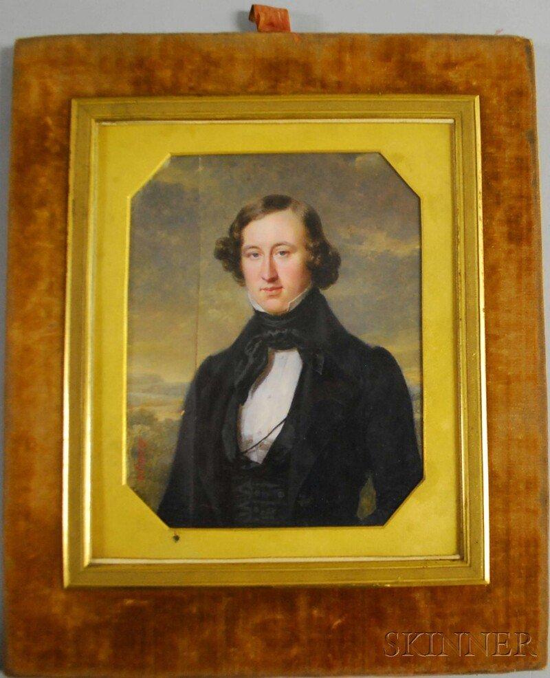 611: Pierre Daubigny (French, 1793-1858) Portrait of Sa