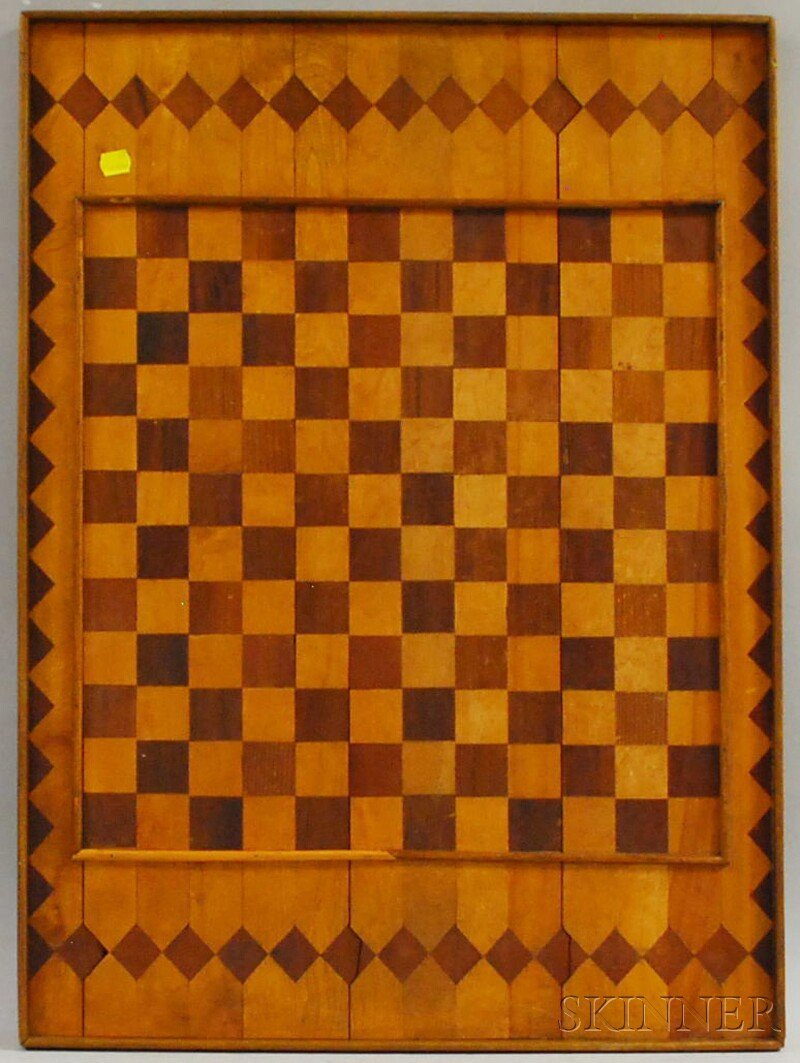 617: Large Parquetry Wood Checkered Game Board, 29 x 21