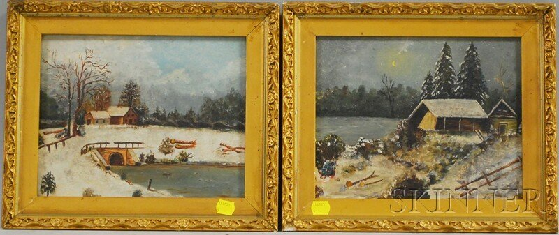 618: American School, 19th/20th Century Two Snow Scenes