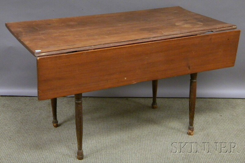 621: Brown-painted Country Pine and Maple Table, with s