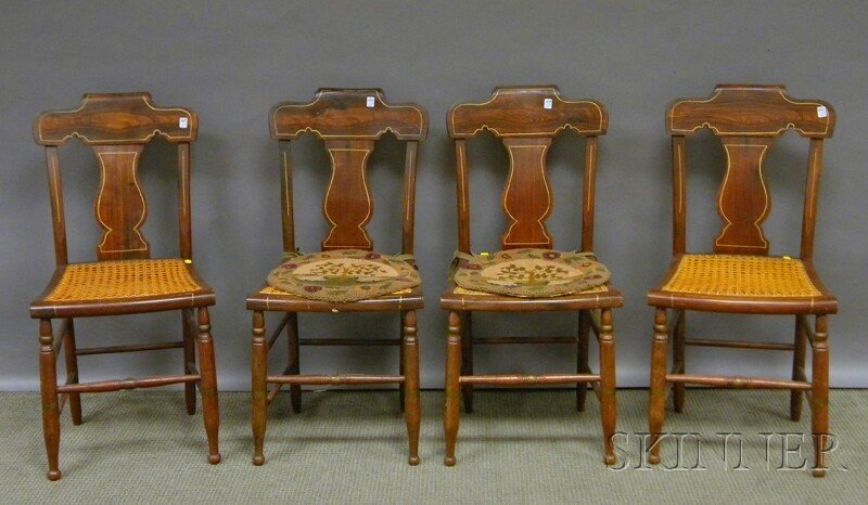 622: Set of Four Grain-painted and Decorated Fiddle-bac