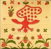 Appliqued Cotton Patriotic Eagle Crib Quilt, Ameri