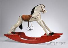 1085: Child's Painted Carved Wood Rocking Horse, 20th c