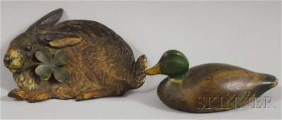 1195 Painted Cast Iron Mallard Paperweight and a Bradl