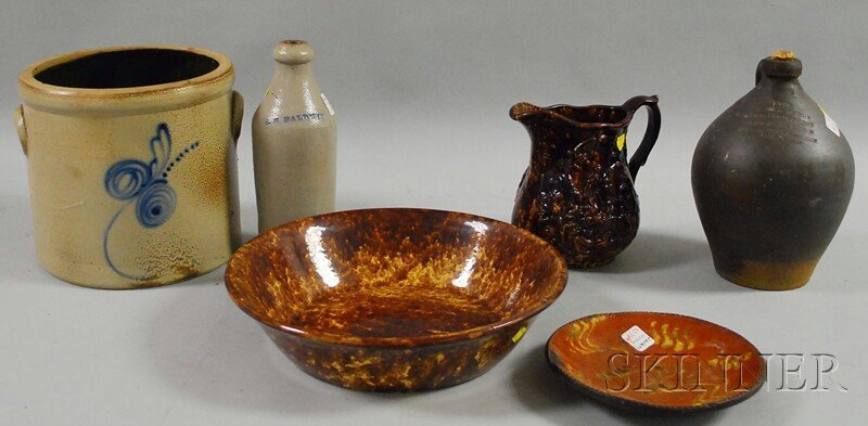 1274: Six Pieces of Assorted Stoneware and Pottery, a c
