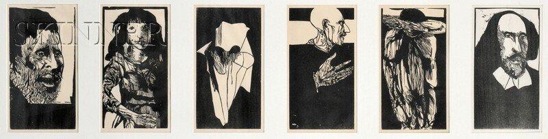Leonard Baskin (American, 1922-2000) Six Images from OT