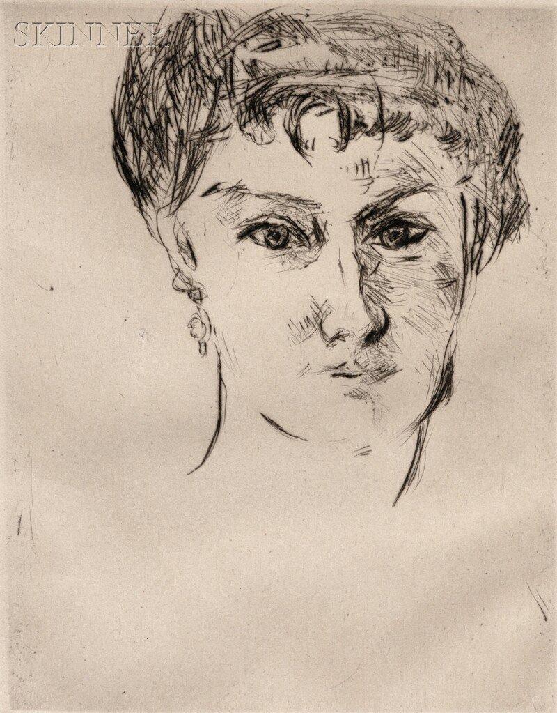 Max Beckmann (German, 1884-1950) Mink, Frontal, with El