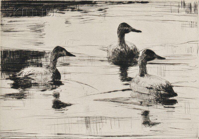 Frank Weston Benson (American, 1862-1951) Two Waterfowl