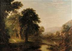 American School, 19th Century River Landscape with Duck