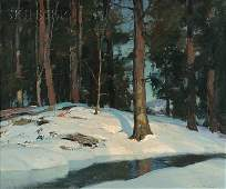 Emile Albert Grupp American 18961978 Snowy Wood In