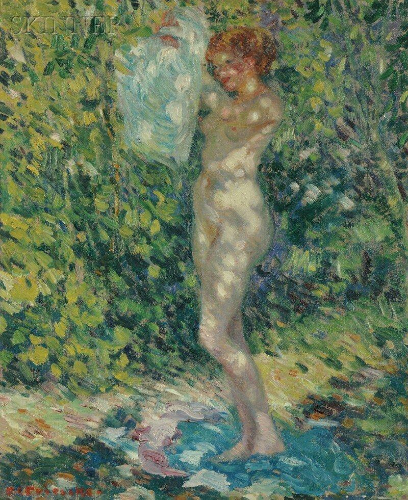 Frederick Carl Frieseke (American, 1874-1939) Nude (Giv
