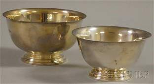 12: Two Small Sterling Silver Revere-type Footed Bowls,