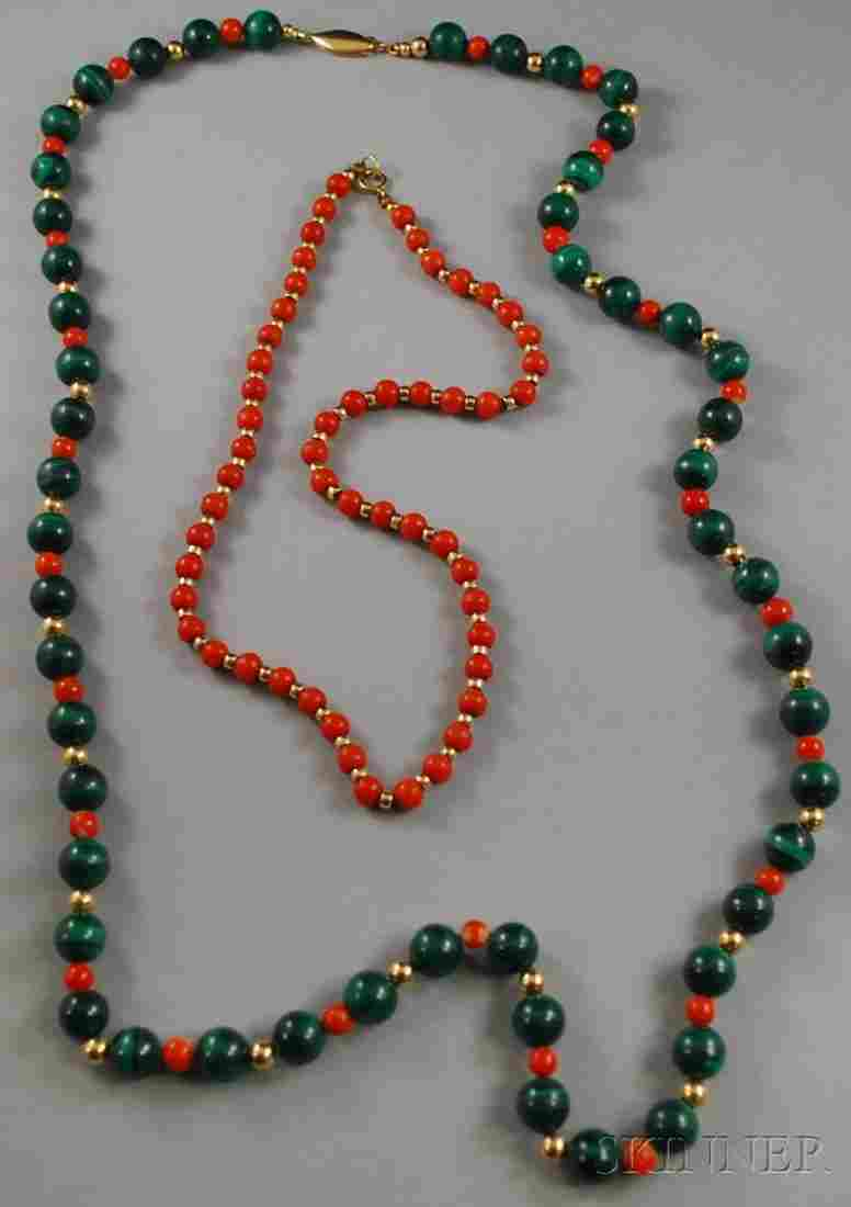 265: Two Gold and Hardstone Beaded Necklaces, a coral b