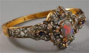 330: 14kt Gold, Opal, Sapphire, and Diamond Bangle Brac