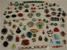 444 Large Group of Silver and Hardstone Jewelry turqu