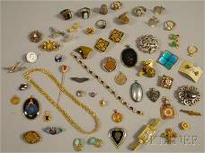 458 Small Group of Antique and Costume Jewelry includ