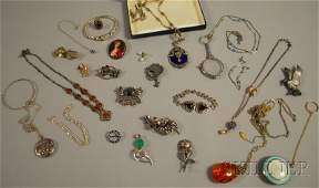 521 Group of Mostly Antique Silver and Costume Jewelry