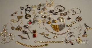 540: Small Group of Mostly Modernist Sterling Silver Je