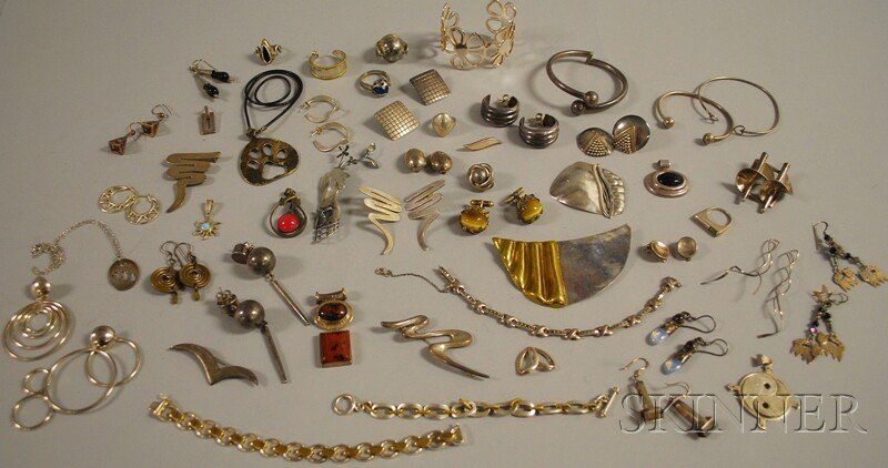 Small Group of Mostly Modernist Sterling Silver Je