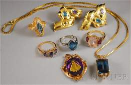 546: Group of Assorted Gold Gem-set Jewelry, a 14kt gol