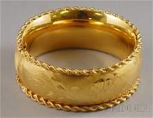 571: Wide 14kt Gold Hinged Bangle Bracelet, with wide h