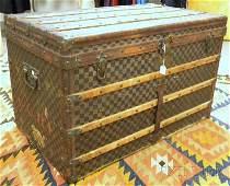 611: Early Louis Vuitton Damier Canvas Steamer Trunk, l