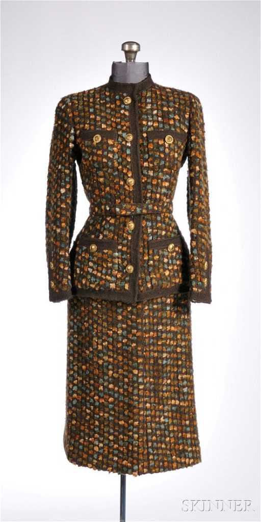cd968a770aec8f 627: Vintage Chanel Skirt Suit, 1960s-70s, multicolored