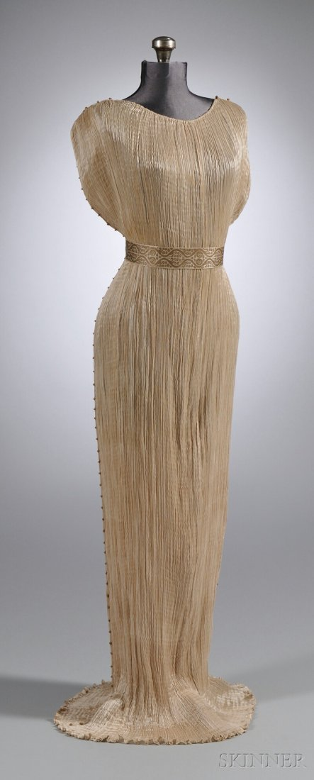 """642: Mariano Fortuny Silk Pleated """"Delphos"""" Gown with M"""