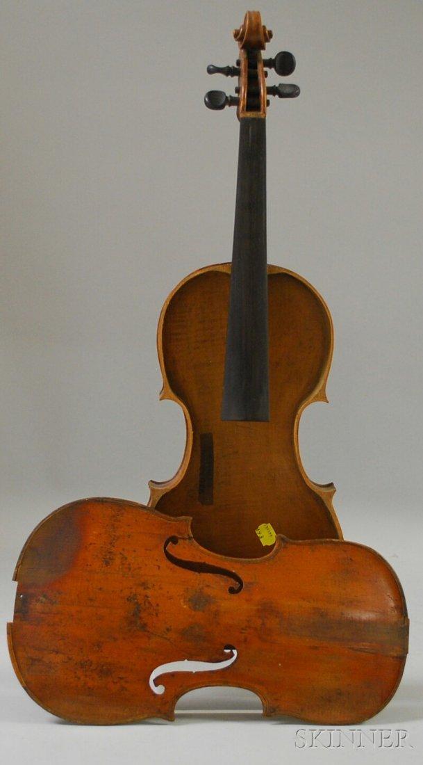 802: Saxon Violin, c. 1800, labeled ...DAVID BELDER...,