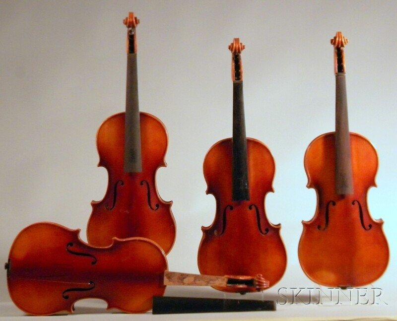 805: Four Modern Violins, Anton Schroetter, Mittenwald,
