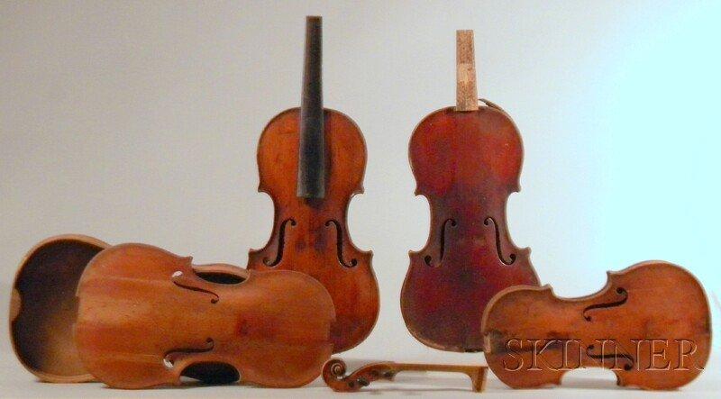 807: Four Restorable Old Violins, including two violin
