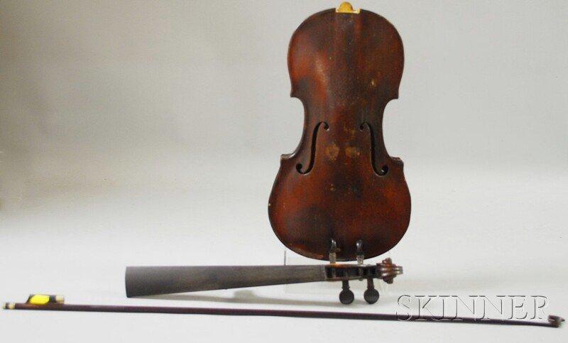 809: French Violin, c. 1880, bearing the repair label o