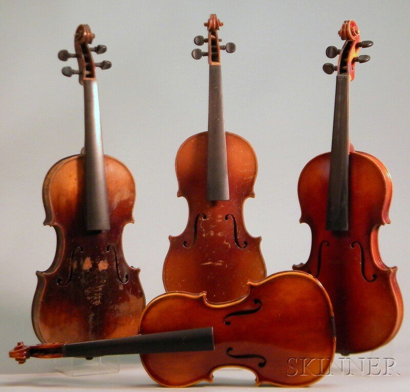 810: Four Modern German Violins, including two child's.