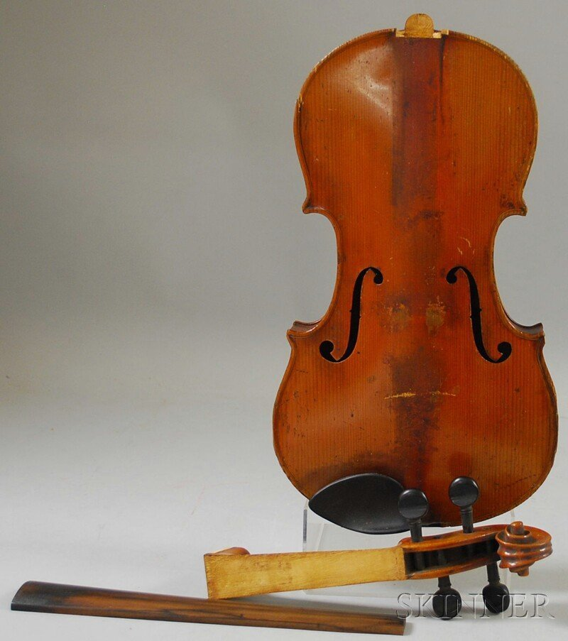 812: German Violin, c. 1910, unlabeled, length of back