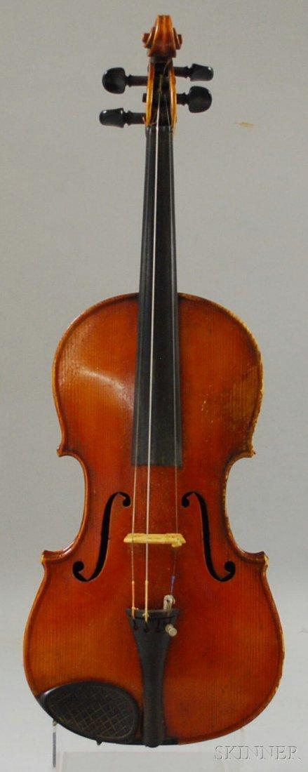 821: German Violin, c. 1920, labeled ...STRADIVARIUS...
