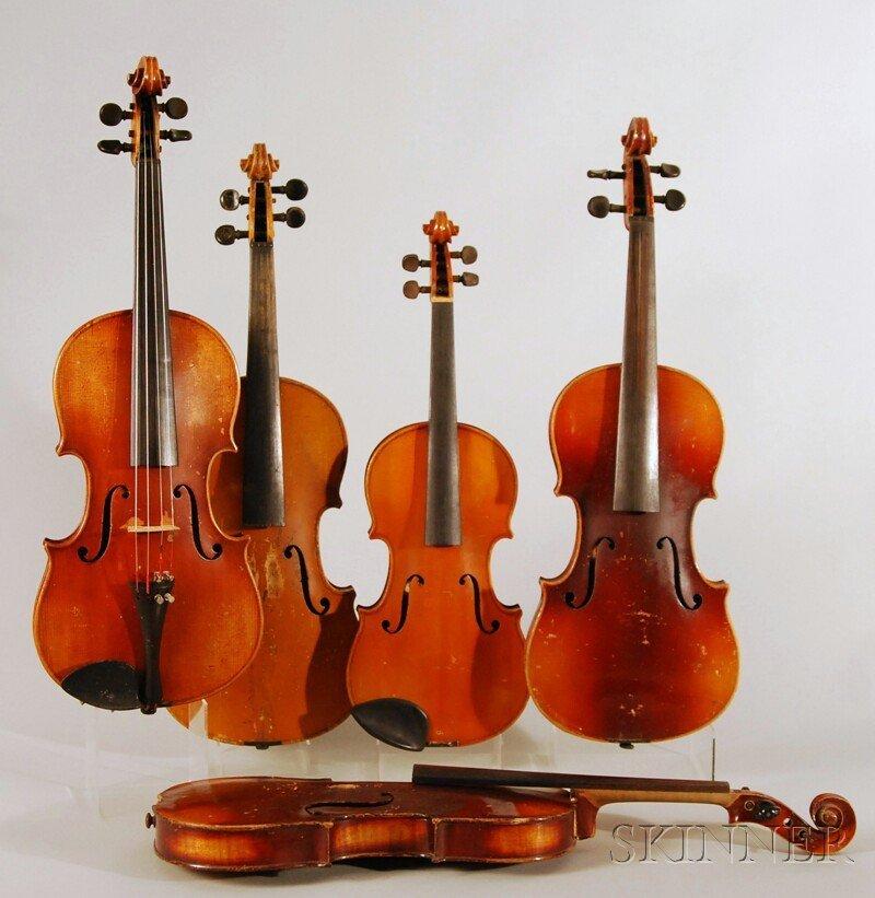 822: Five German Violins, c. 1920, including one child'