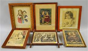 1279 Six Framed Mostly Small Folio Handcolored Lithog