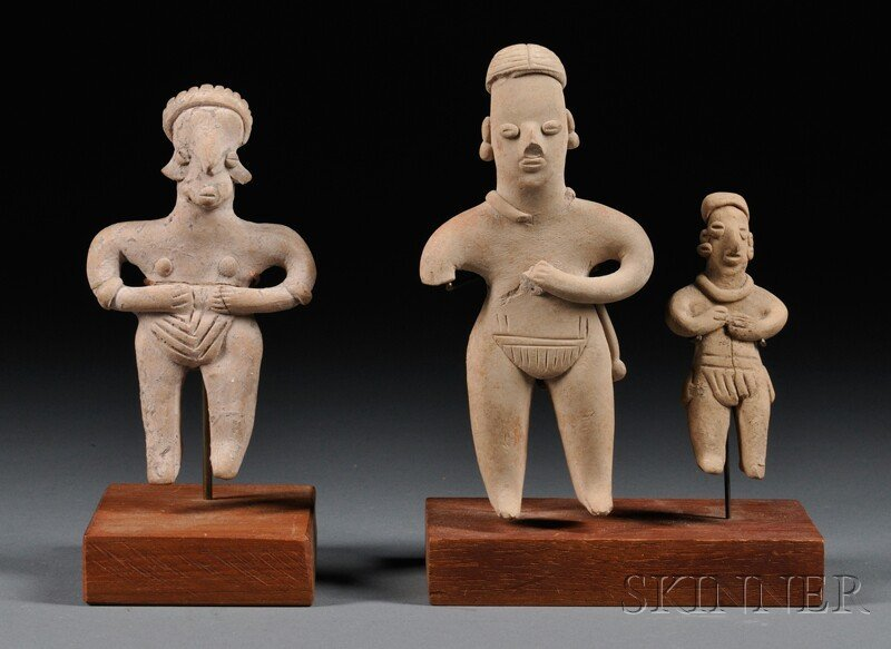 1: Three Tlatilco Figures, (damage), ht. to 5 in.